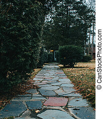 A Cobblestone Path Leading Up To The Front Door of a Home With Trees and Bushes on Each Side