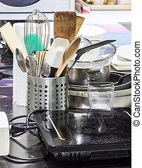 a, cobrança, de, equipamento cozinha