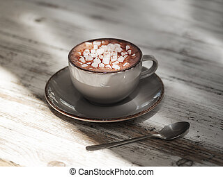 A cocoa drink in a clay mug on a shabby wooden background. A porcelain cup of black coffee with white marshmallows. Copy space.