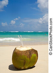 Coconut drink on exotic beach