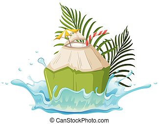 A Coconut Drink on White Background