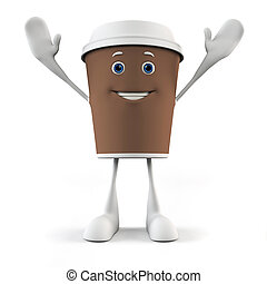 A coffee cup character - 3d rendered illustration of a ...