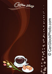 A Coffee Menu Pattern on Brown Background - Coffee Menu, A...