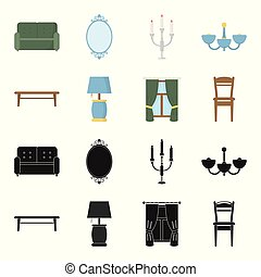 A coffee table, a lamp, curtains, a chair.Furniture set collection icons in black,cartoon style vector symbol stock illustration web.