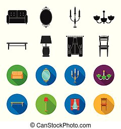 A coffee table, a lamp, curtains, a chair.Furniture set collection icons in black,flet style vector symbol stock illustration web.