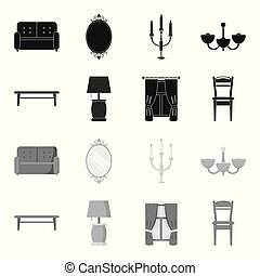 A coffee table, a lamp, curtains, a chair.Furniture set collection icons in black,monochrome style vector symbol stock illustration web.