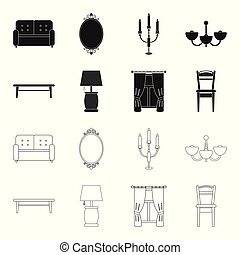 A coffee table, a lamp, curtains, a chair.Furniture set collection icons in black,outline style vector symbol stock illustration web.
