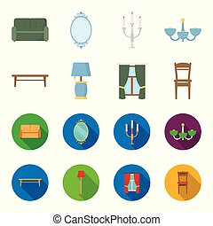 A coffee table, a lamp, curtains, a chair.Furniture set collection icons in cartoon,flat style vector symbol stock illustration web.