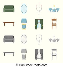A coffee table, a lamp, curtains, a chair.Furniture set collection icons in cartoon,monochrome style vector symbol stock illustration web.