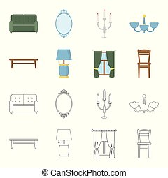 A coffee table, a lamp, curtains, a chair.Furniture set collection icons in cartoon,outline style vector symbol stock illustration web.