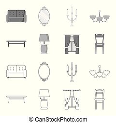 A coffee table, a lamp, curtains, a chair.Furniture set collection icons in outline,monochrome style vector symbol stock illustration web.