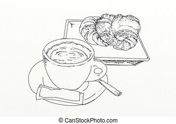 A coffee with brioche