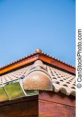 a, coin, de, céramique, toit