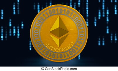 A coin of ethereum - Coin etherum on the background of...