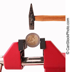coin - A coin sticks in a bench vise with a hammer