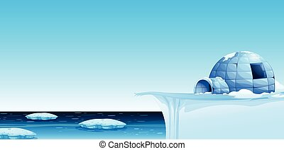 A cold north pole background illustration