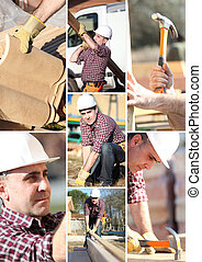 a, collage, av, a, anläggningsarbetare
