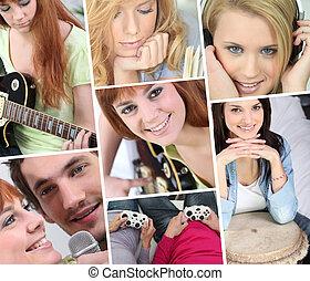 a, collage, de, adolescent, filles