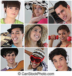 a, collage, de, adolescents