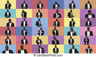 A collage of beautiful African American guy in different images that depict different emotions.
