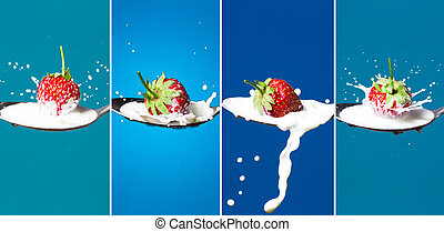 A collage of high-speed photos of strawberries falling into...