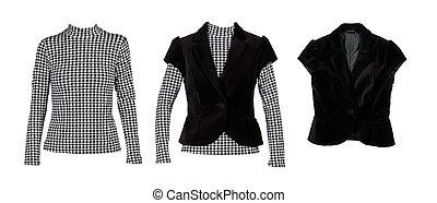 """A collage of patterned blouses with """"crows feet"""" and a black vest. The image is composed of several images."""