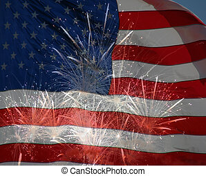 A collage of two photos by the artist - the American flag and fireworks.