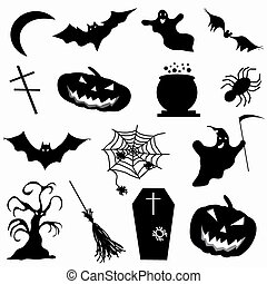 a collection of 15 icons Halloween vector illustration