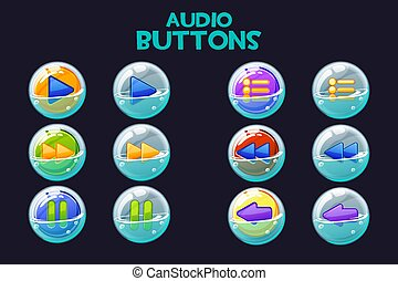 A collection of bright multi-colored audio buttons in soap bubbles.