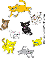 A Collection of Cats - Eight illustrated cats in several...