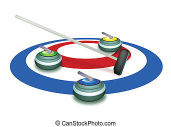 A Collection of Curling Stones on Ice Sheet - Winter Sport...