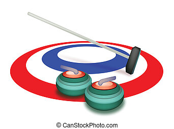 Winter Sport : Hand Drawing of Curling Rocks and Broom in The Ice Rings, Green, White and Blue Colors in Curling Sport Isolated on White Background