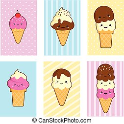 a collection of cute ice cream card