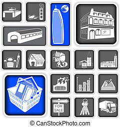 real estate squared icons - A collection of different real...