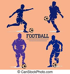 A collection of football players with a ball. Silhouette of a blue violet and lilac color, on a beige background,