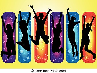 A collection of happy woman jumping in silhouette
