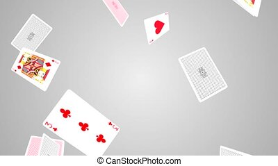 A collection of jack of hearts playing cards falling across the screen on Clean White Loop background. Casino, Gambling, Chips, Poker, Blackjack, Ace, Betting, Playing Cards, Black jack, King, Queen,