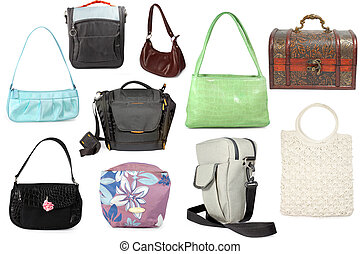 a collection of many different handbags