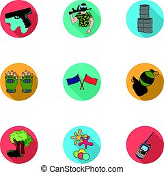 A collection of pictures about the game in paintball. The balloons with paint.Paintball icon in set collection on flat style vector symbol stock illustration.