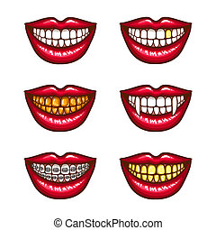 A collection of pop art icons of red female lips - Smiling, with vampire fangs, with metal dental crowns, with braces