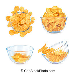 a collection of potato chips in glass bowls