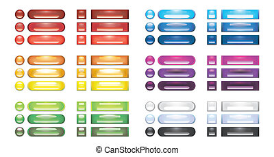 A collection of rainbow blank web buttons