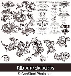 A collection or set of vintage styled flourishes for design