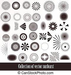 A collection or set of vintage styled sunbursts for design