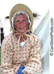 Colonial Wife - A Colonial Wife Poses in her Bonnet during a...