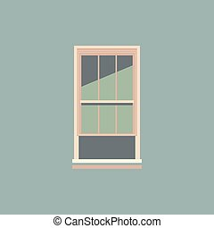 A color illustration of a half opened window, vector or color illustration.