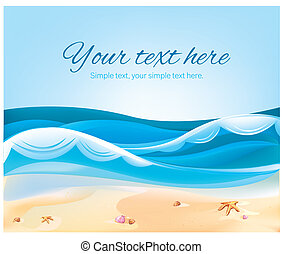 Color illustration of Ocean Beach in the summer - a Color...