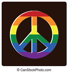 lgbt - a colored lgbt peace symbol in black background