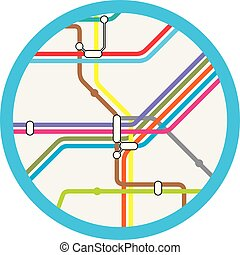 a colorful abstract subway, metro vector map