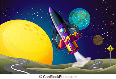 A colorful aircraft near the moon